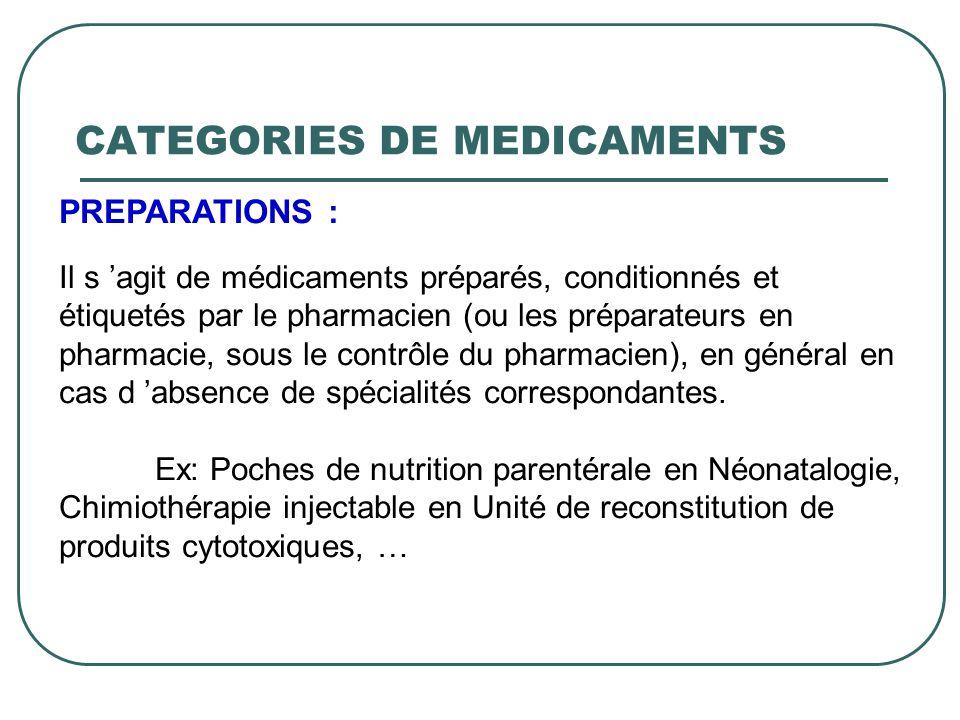 PREPARATIONS : Il s agit de médicaments préparés, conditionnés et étiquetés par le pharmacien (ou les préparateurs en pharmacie, sous le contrôle du p