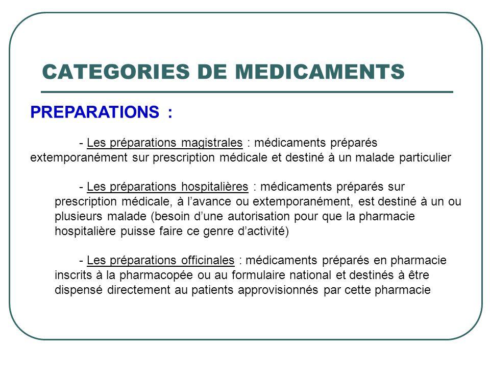 PREPARATIONS : - Les préparations magistrales : médicaments préparés extemporanément sur prescription médicale et destiné à un malade particulier - Le