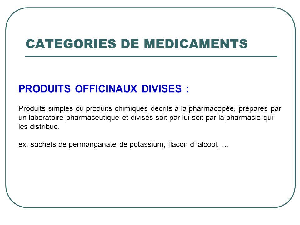 PRODUITS OFFICINAUX DIVISES : Produits simples ou produits chimiques décrits à la pharmacopée, préparés par un laboratoire pharmaceutique et divisés s