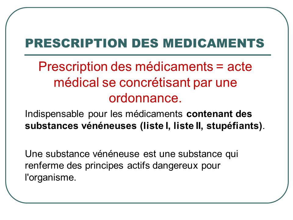 PRESCRIPTION DES MEDICAMENTS Prescription des médicaments = acte médical se concrétisant par une ordonnance. Indispensable pour les médicaments conten
