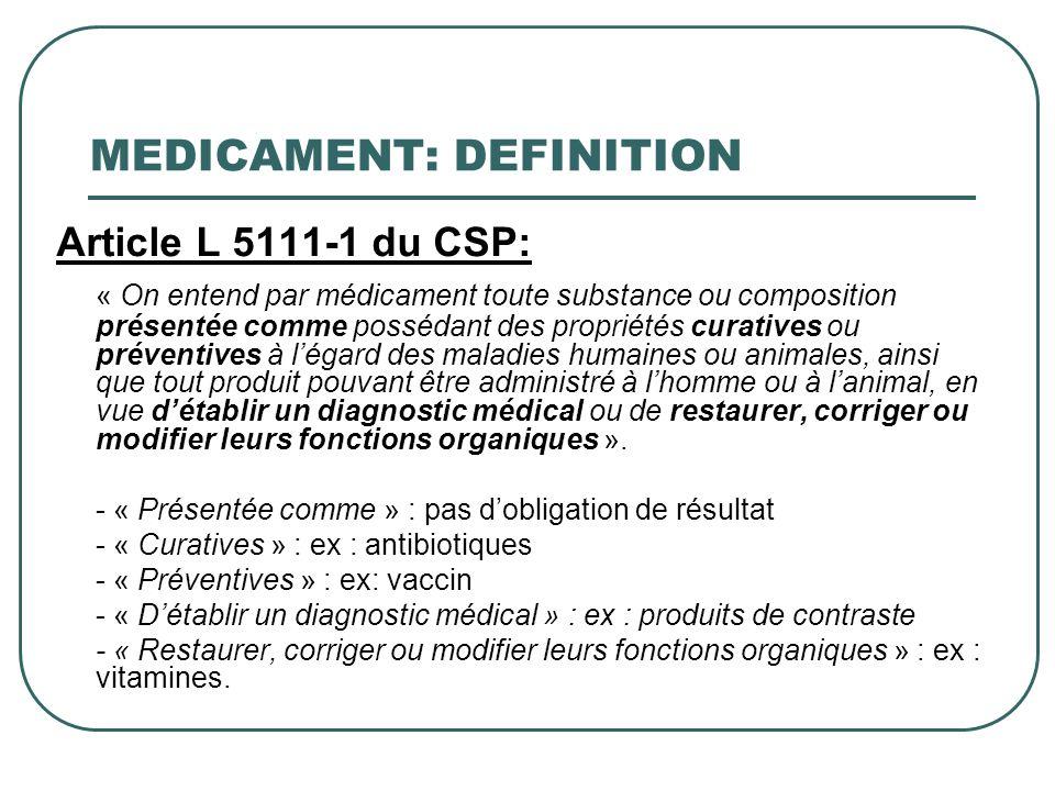MEDICAMENT: DEFINITION Article L 5111-1 du CSP: « On entend par médicament toute substance ou composition présentée comme possédant des propriétés cur