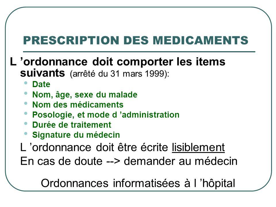 PRESCRIPTION DES MEDICAMENTS L ordonnance doit comporter les items suivants (arrêté du 31 mars 1999): Date Nom, âge, sexe du malade Nom des médicament