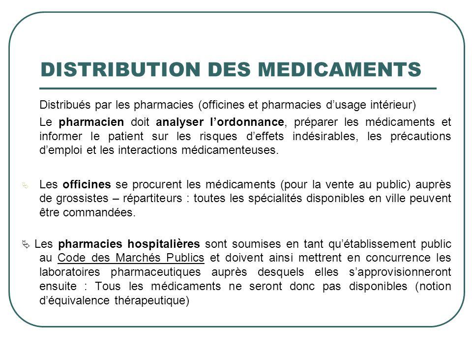 DISTRIBUTION DES MEDICAMENTS Distribués par les pharmacies (officines et pharmacies dusage intérieur) Le pharmacien doit analyser lordonnance, prépare