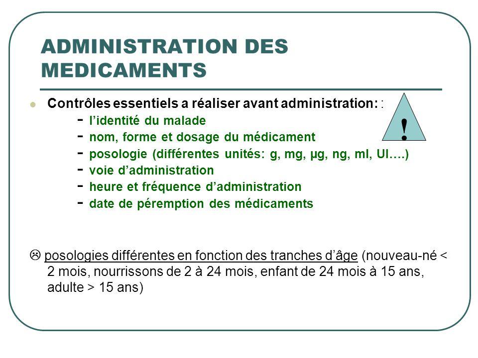Contrôles essentiels a réaliser avant administration: : - lidentité du malade - nom, forme et dosage du médicament - posologie (différentes unités: g,