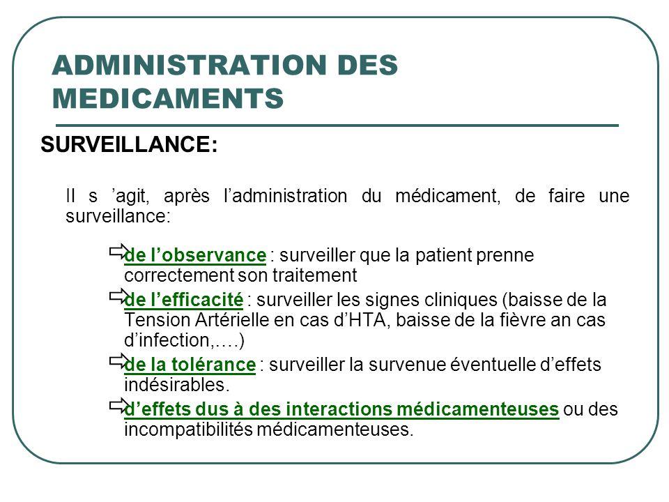 SURVEILLANCE: Il s agit, après ladministration du médicament, de faire une surveillance: de lobservance : surveiller que la patient prenne correctemen