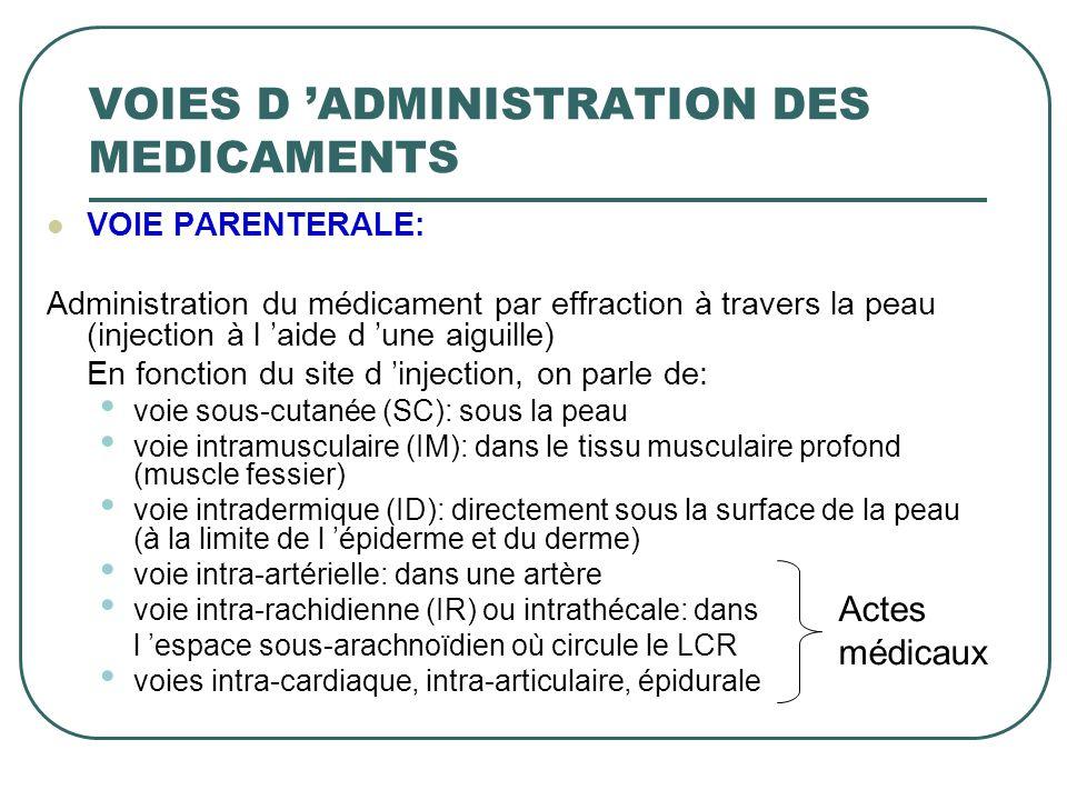 VOIE PARENTERALE: Administration du médicament par effraction à travers la peau (injection à l aide d une aiguille) En fonction du site d injection, o