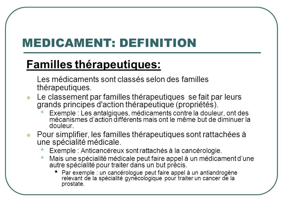 MEDICAMENT: DEFINITION Familles thérapeutiques: Les médicaments sont classés selon des familles thérapeutiques. Le classement par familles thérapeutiq