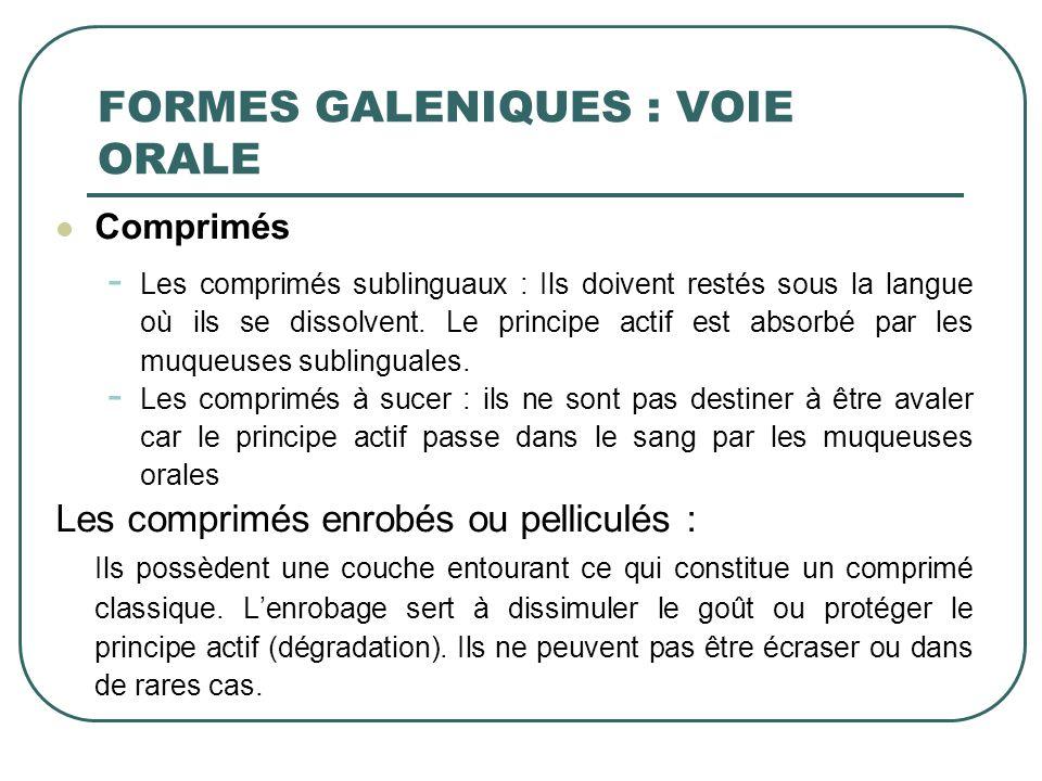 Comprimés - Les comprimés sublinguaux : Ils doivent restés sous la langue où ils se dissolvent. Le principe actif est absorbé par les muqueuses sublin