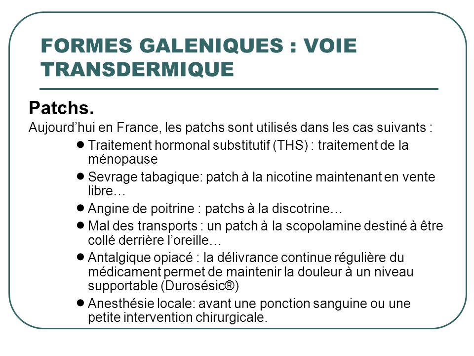 Patchs. Aujourdhui en France, les patchs sont utilisés dans les cas suivants : Traitement hormonal substitutif (THS) : traitement de la ménopause Sevr