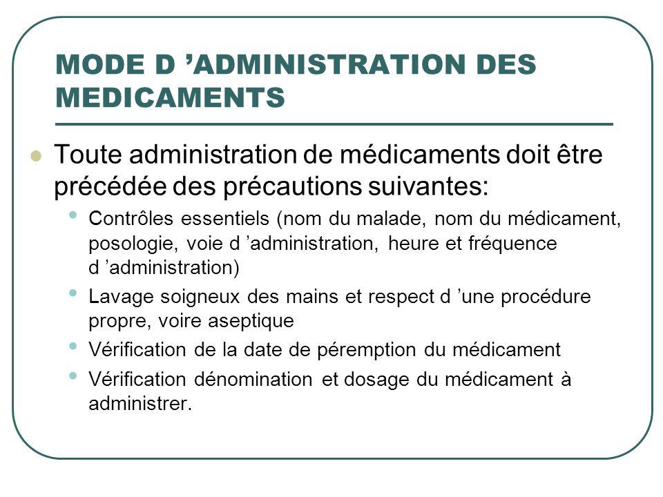 MODE D ADMINISTRATION DES MEDICAMENTS Toute administration de médicaments doit être précédée des précautions suivantes: Contrôles essentiels (nom du m