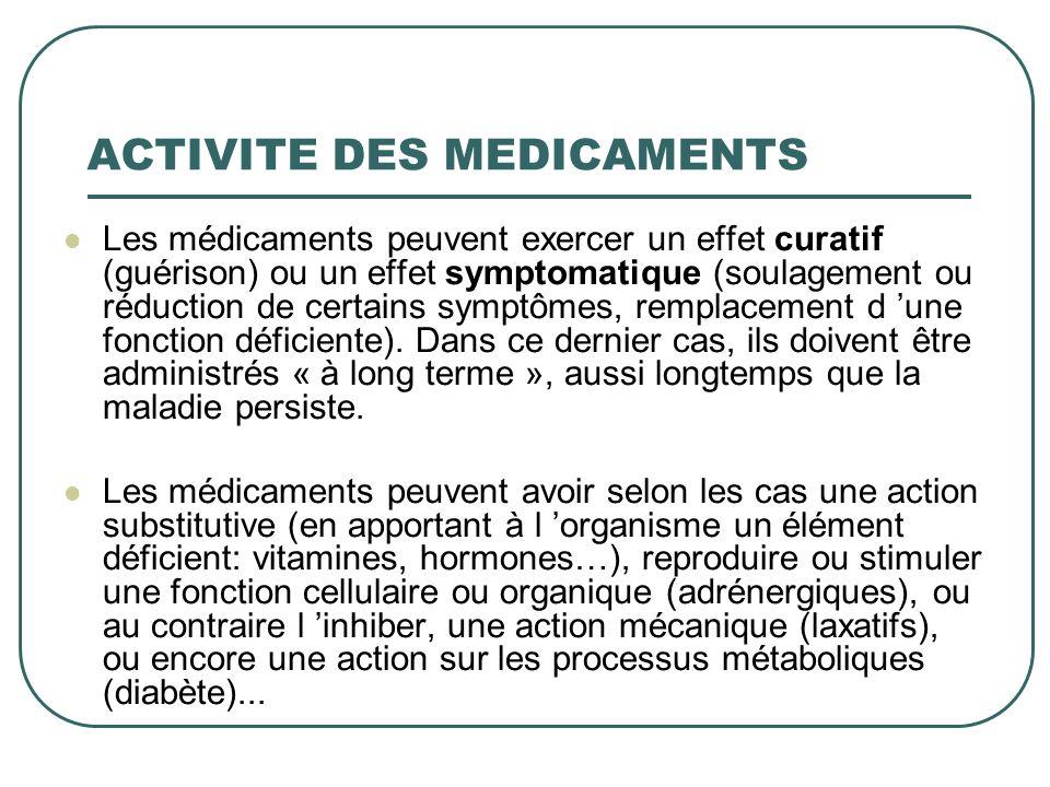 ACTIVITE DES MEDICAMENTS Les médicaments peuvent exercer un effet curatif (guérison) ou un effet symptomatique (soulagement ou réduction de certains s