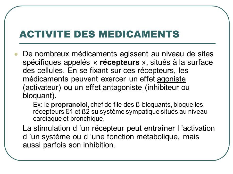 ACTIVITE DES MEDICAMENTS De nombreux médicaments agissent au niveau de sites spécifiques appelés « récepteurs », situés à la surface des cellules. En
