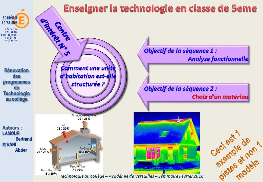 1 Objectif de la séquence 2 : Choix dun matériau Objectif de la séquence 2 : Choix dun matériau Technologie au collège – Académie de Versailles – Sémi