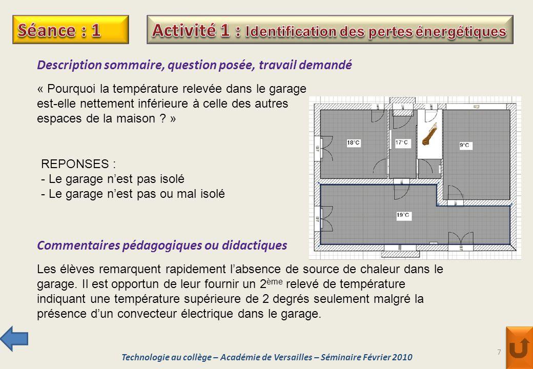7 Description sommaire, question posée, travail demandé « Pourquoi la température relevée dans le garage est-elle nettement inférieure à celle des aut