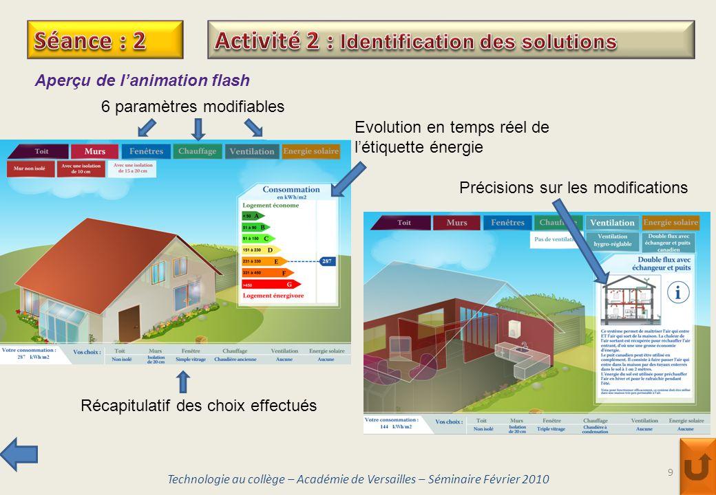 9 Aperçu de lanimation flash 6 paramètres modifiables Evolution en temps réel de létiquette énergie Récapitulatif des choix effectués Précisions sur l