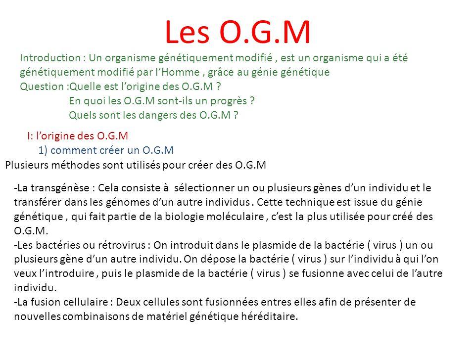 Les O.G.M Introduction : Un organisme génétiquement modifié, est un organisme qui a été génétiquement modifié par lHomme, grâce au génie génétique Question :Quelle est lorigine des O.G.M .