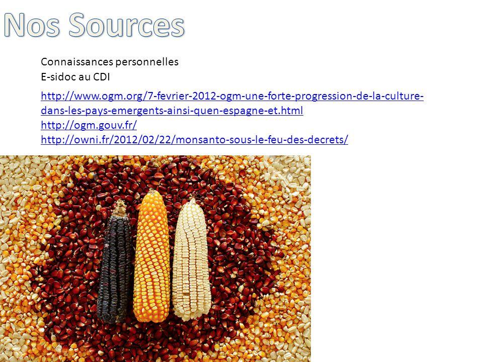 E-sidoc au CDI http://www.ogm.org/7-fevrier-2012-ogm-une-forte-progression-de-la-culture- dans-les-pays-emergents-ainsi-quen-espagne-et.html http://ogm.gouv.fr/ http://owni.fr/2012/02/22/monsanto-sous-le-feu-des-decrets/ Connaissances personnelles
