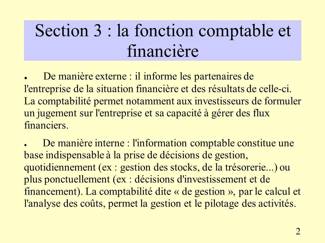 Troisième partie : organisation et gestion de l'entreprise Section 3 : la fonction comptable et financière La comptabilité présente une dimension léga
