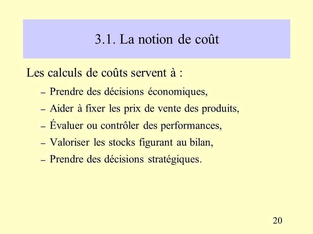 III. La comptabilité de gestion et les calculs de coûts 3.1. La notion de coût Un coût est une somme de consommations de ressources, soit une somme de