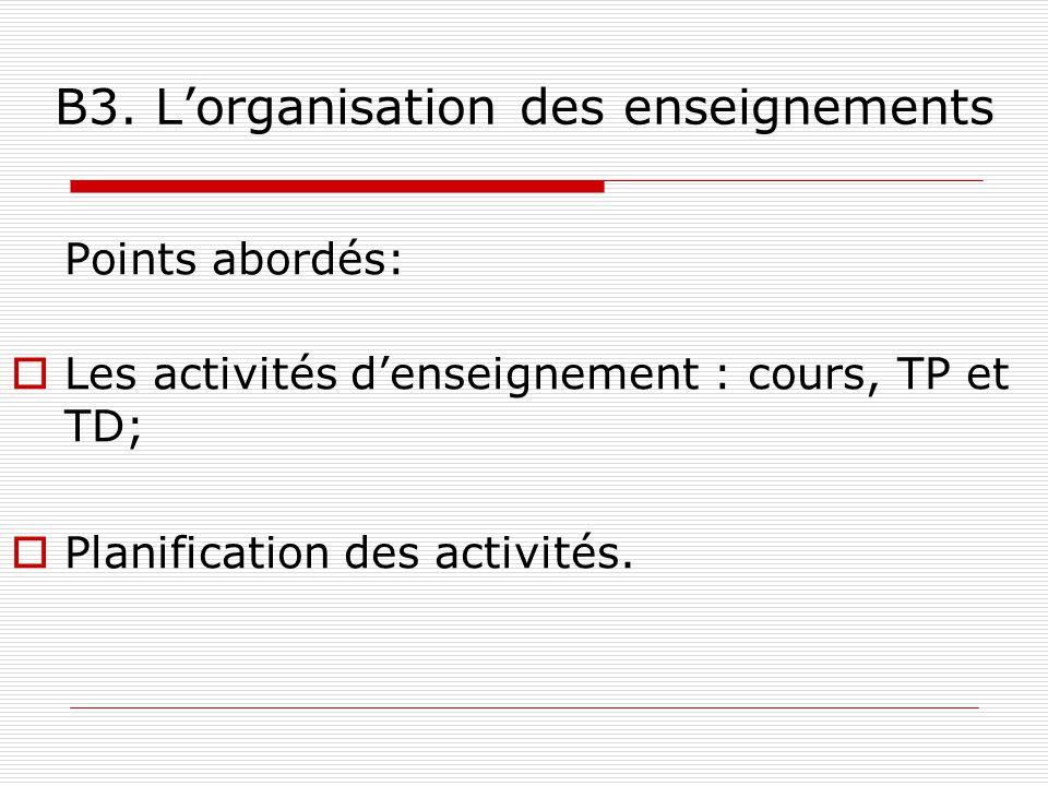 B3. Lorganisation des enseignements Points abordés: Les activités denseignement : cours, TP et TD; Planification des activités.