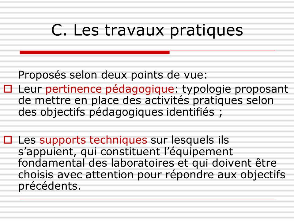 C. Les travaux pratiques Proposés selon deux points de vue: Leur pertinence pédagogique: typologie proposant de mettre en place des activités pratique