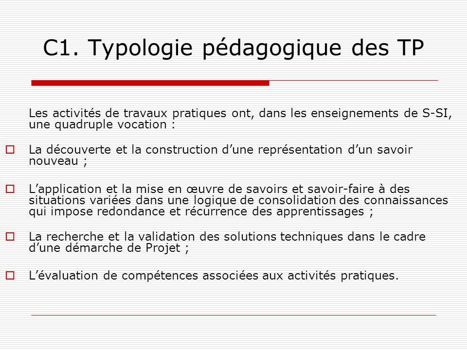 C1. Typologie pédagogique des TP Les activités de travaux pratiques ont, dans les enseignements de S-SI, une quadruple vocation : La découverte et la