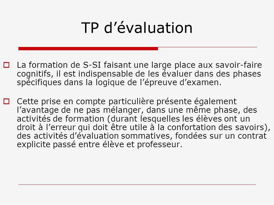 TP dévaluation La formation de S-SI faisant une large place aux savoir-faire cognitifs, il est indispensable de les évaluer dans des phases spécifique