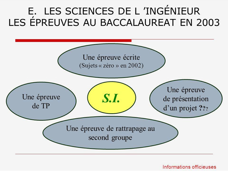 E. LES SCIENCES DE L INGÉNIEUR LES ÉPREUVES AU BACCALAUREAT EN 2003 S.I. Une épreuve de présentation dun projet ? ? ? Une épreuve écrite (Sujets « zér