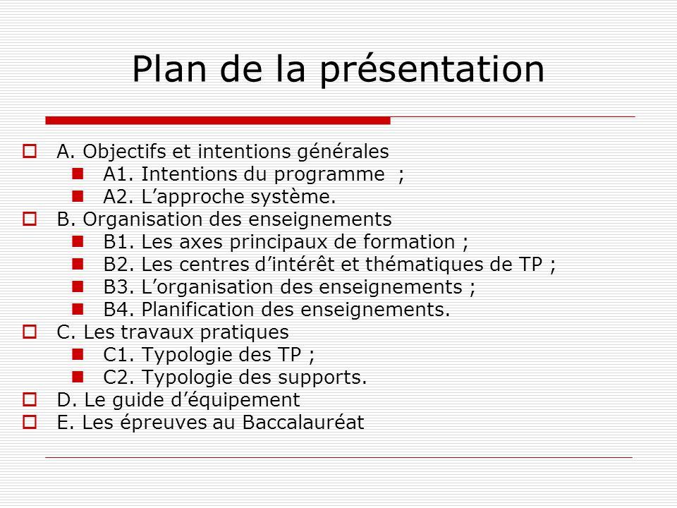 Plan de la présentation A. Objectifs et intentions générales A1. Intentions du programme ; A2. Lapproche système. B. Organisation des enseignements B1