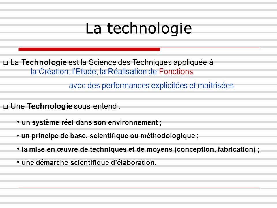 La technologie La Technologie est la Science des Techniques appliquée à la Création, lEtude, la Réalisation de Fonctions avec des performances explici