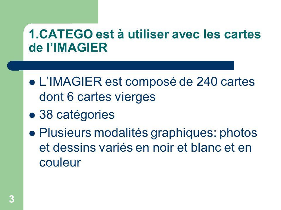 3 1.CATEGO est à utiliser avec les cartes de lIMAGIER LIMAGIER est composé de 240 cartes dont 6 cartes vierges 38 catégories Plusieurs modalités graphiques: photos et dessins variés en noir et blanc et en couleur