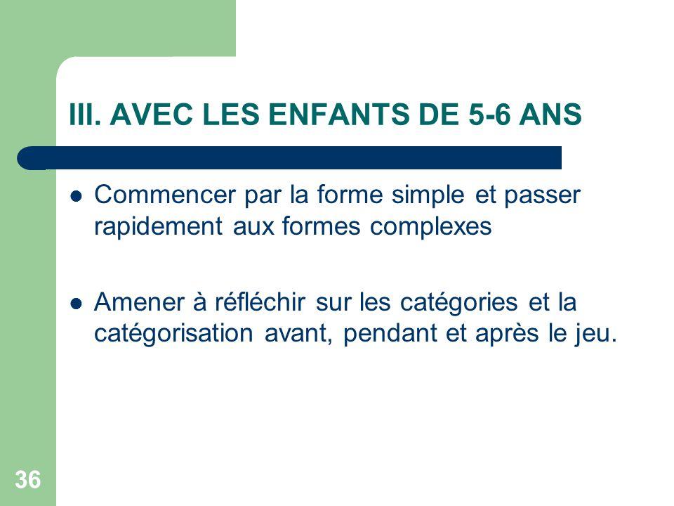 35 II. AVEC LES ENFANTS DE 3-4 ANS Proposer la version la plus simple de chaque jeu (nombre de cartes pas trop élevé) Faire jouer plusieurs parties co