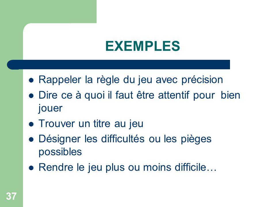 36 III. AVEC LES ENFANTS DE 5-6 ANS Commencer par la forme simple et passer rapidement aux formes complexes Amener à réfléchir sur les catégories et l