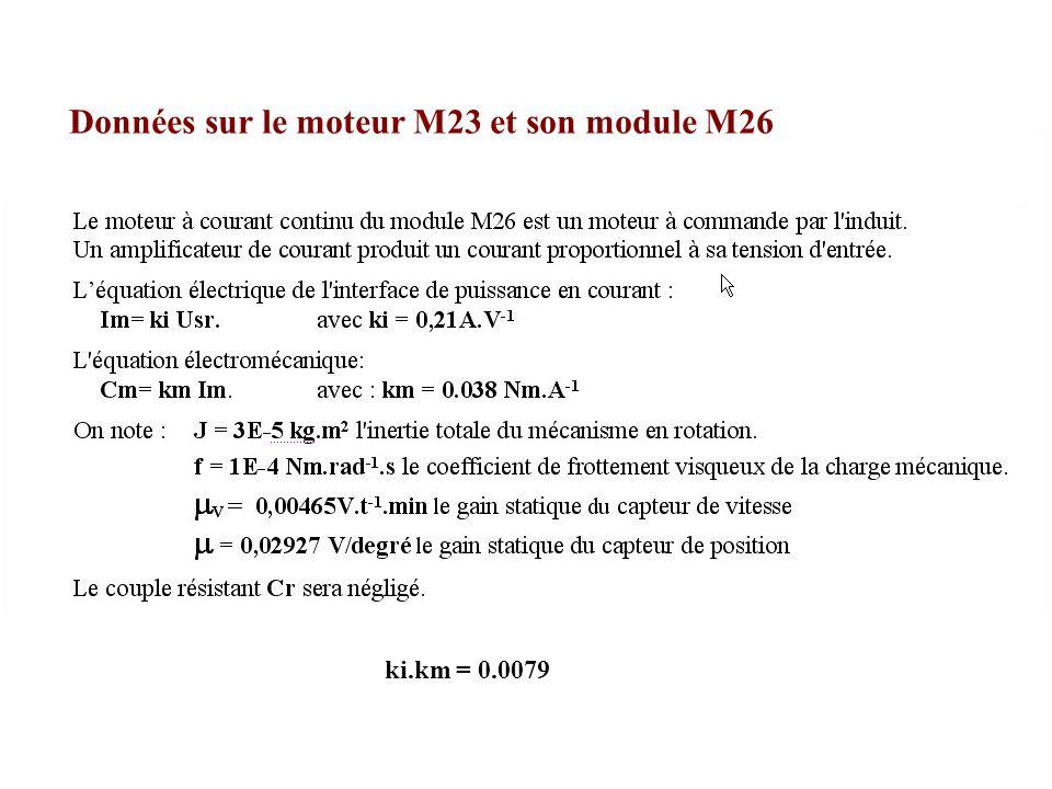 ki.km = 0.0079 Données sur le moteur M23 et son module M26