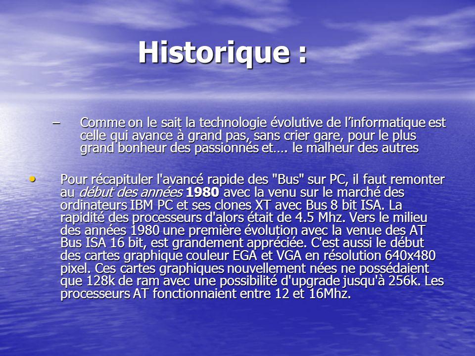 Historique : Historique : –Comme on le sait la technologie évolutive de linformatique est celle qui avance à grand pas, sans crier gare, pour le plus