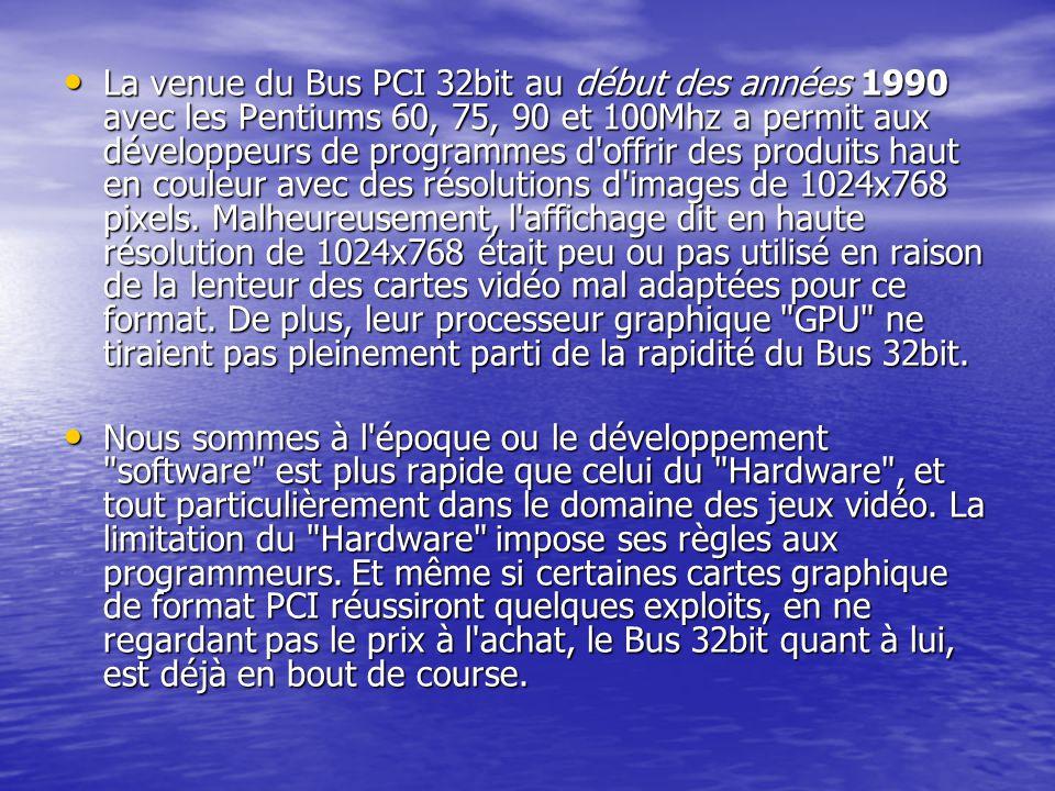 La venue du Bus PCI 32bit au début des années 1990 avec les Pentiums 60, 75, 90 et 100Mhz a permit aux développeurs de programmes d'offrir des produit