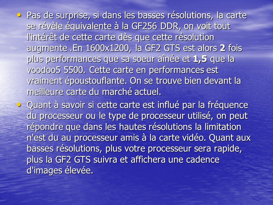 Pas de surprise, si dans les basses résolutions, la carte se révèle équivalente à la GF256 DDR, on voit tout l'intérêt de cette carte dès que cette ré