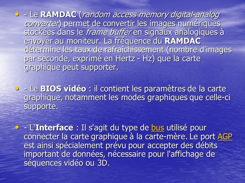 - Le RAMDAC (random access memory digital-analog converter) permet de convertir les images numériques stockées dans le frame buffer en signaux analogi