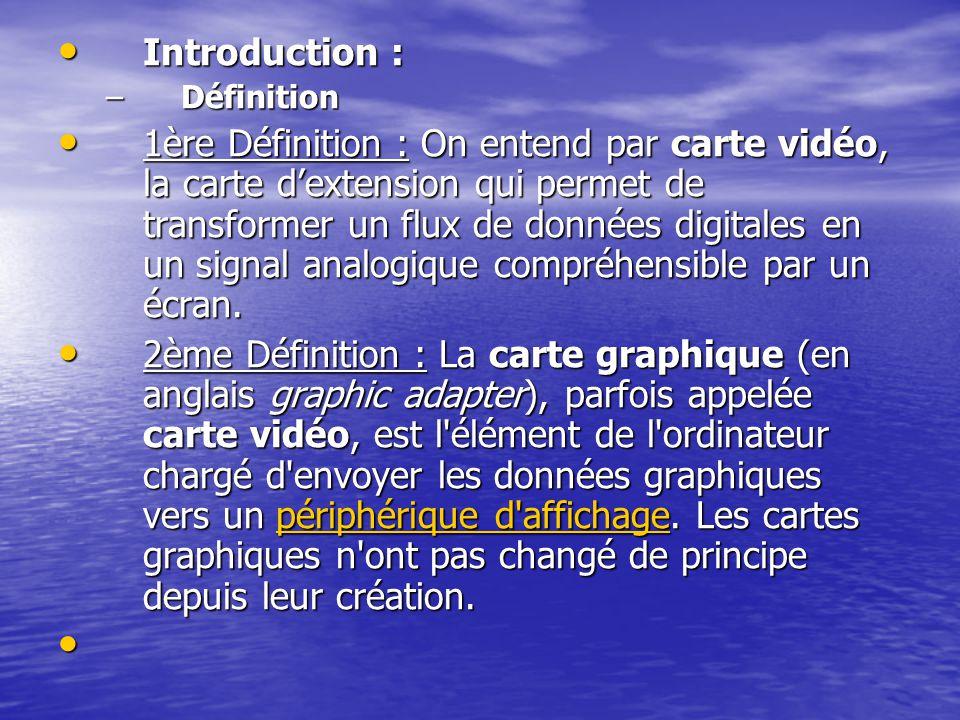 Introduction : Introduction : –Définition 1ère Définition : On entend par carte vidéo, la carte dextension qui permet de transformer un flux de donnée