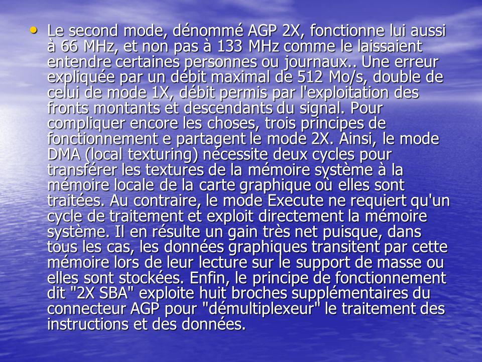 Le second mode, dénommé AGP 2X, fonctionne lui aussi à 66 MHz, et non pas à 133 MHz comme le laissaient entendre certaines personnes ou journaux.. Une