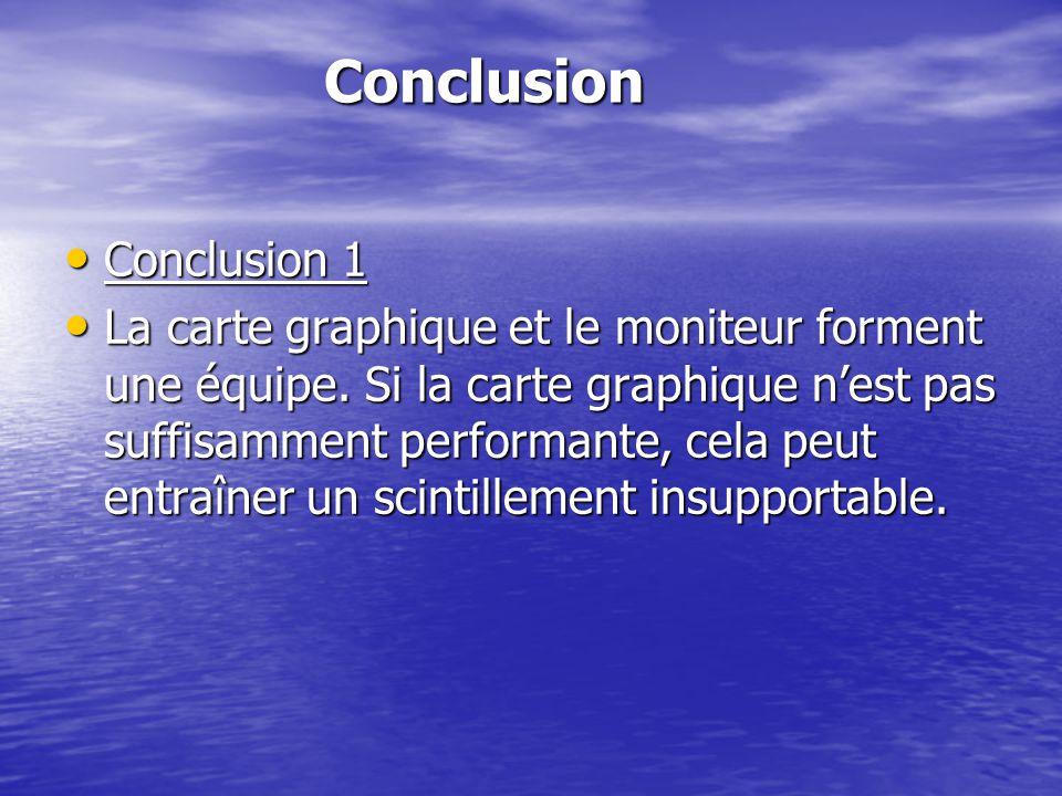 Conclusion Conclusion Conclusion 1 Conclusion 1 La carte graphique et le moniteur forment une équipe. Si la carte graphique nest pas suffisamment perf