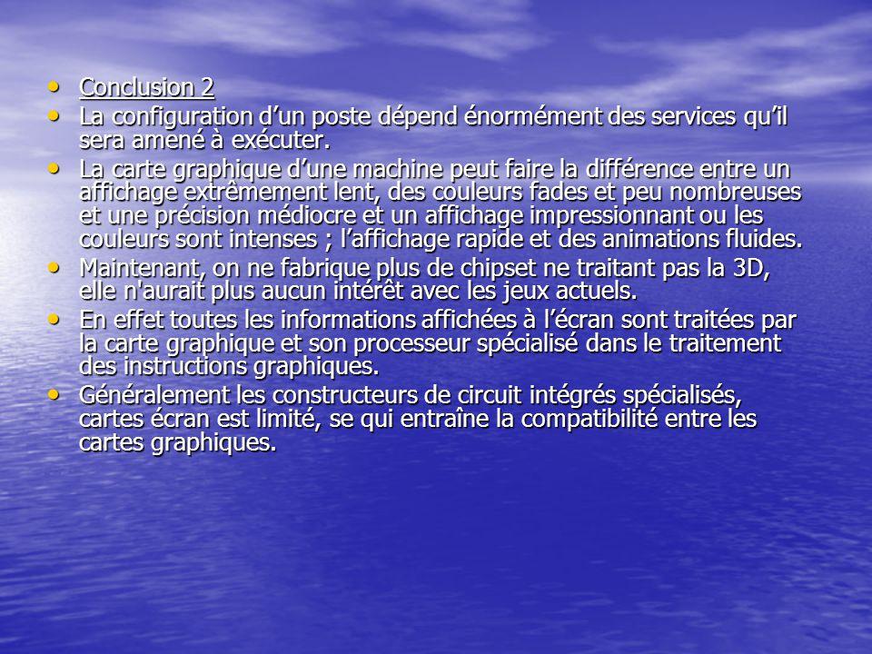 Conclusion 2 Conclusion 2 La configuration dun poste dépend énormément des services quil sera amené à exécuter. La configuration dun poste dépend énor