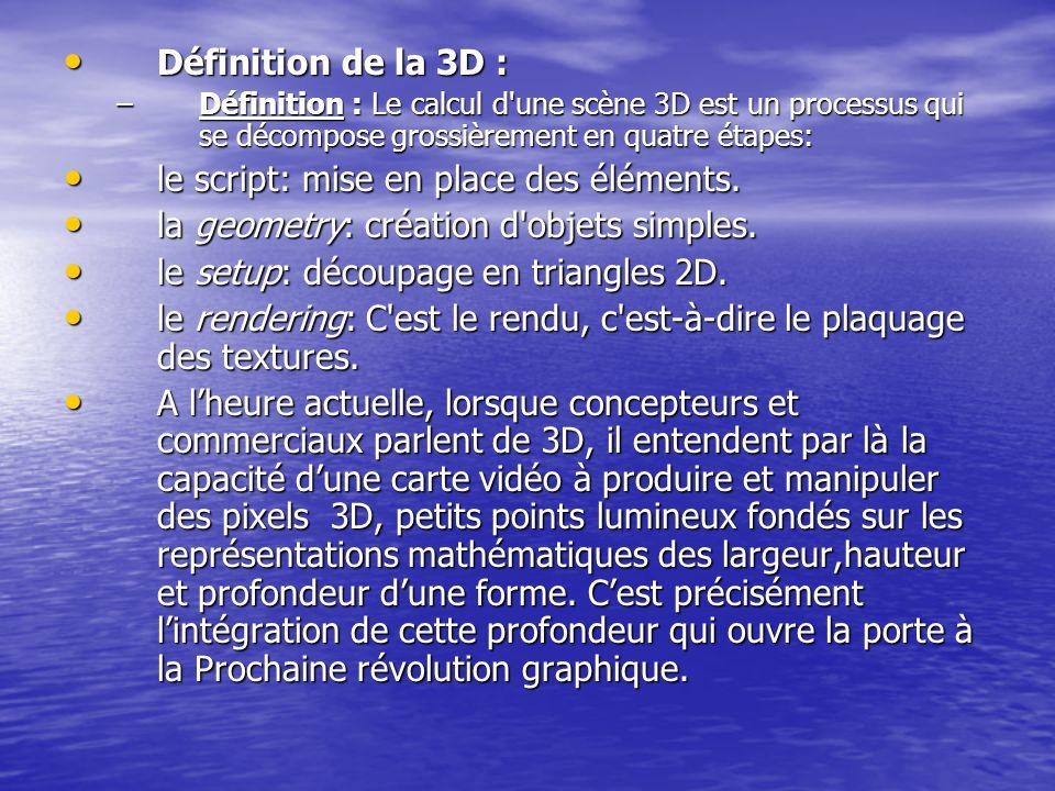 Définition de la 3D : Définition de la 3D : –Définition : Le calcul d'une scène 3D est un processus qui se décompose grossièrement en quatre étapes: l