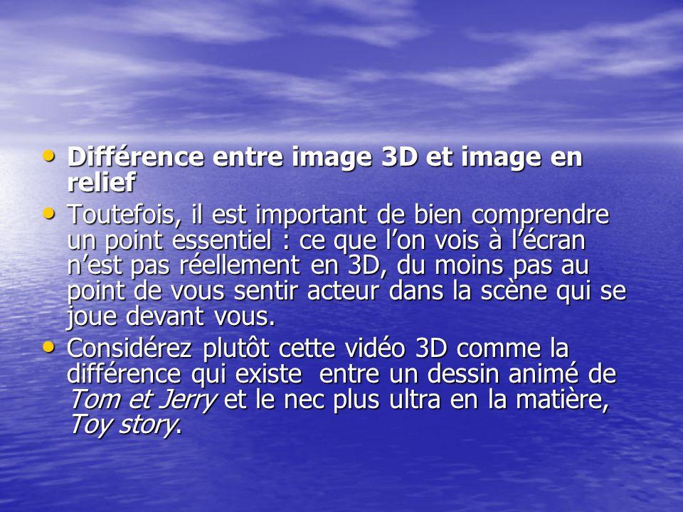 Différence entre image 3D et image en relief Différence entre image 3D et image en relief Toutefois, il est important de bien comprendre un point esse