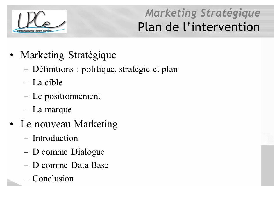 Marketing Stratégique Plan de lintervention Marketing Stratégique –Définitions : politique, stratégie et plan –La cible –Le positionnement –La marque