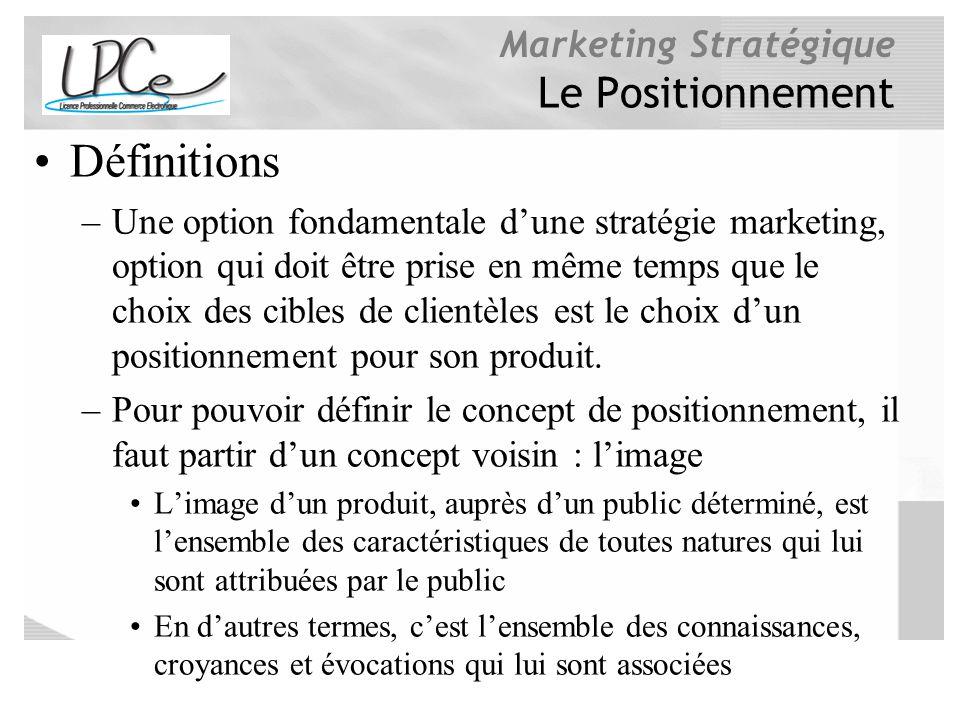 Marketing Stratégique Le Positionnement Définitions –Une option fondamentale dune stratégie marketing, option qui doit être prise en même temps que le