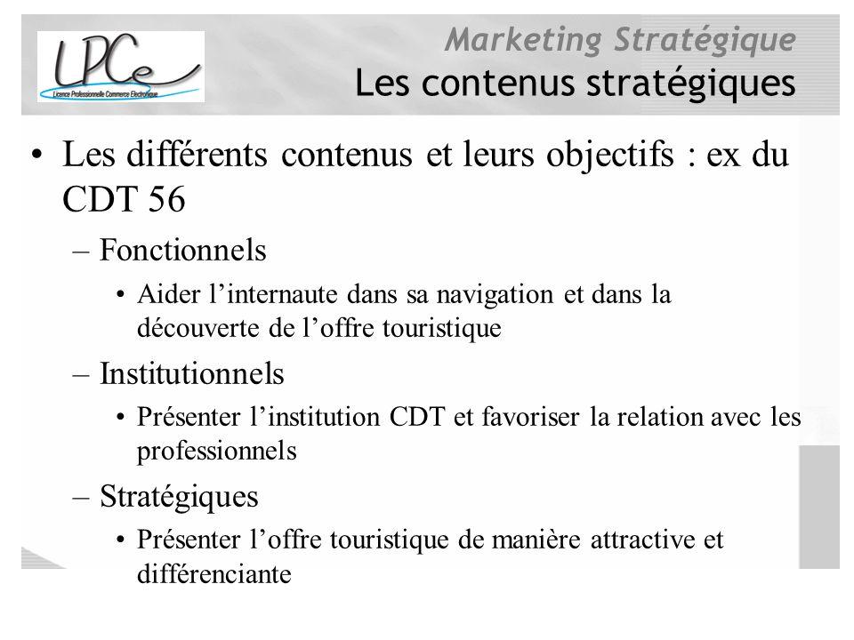 Marketing Stratégique Les contenus stratégiques Les différents contenus et leurs objectifs : ex du CDT 56 –Fonctionnels Aider linternaute dans sa navi
