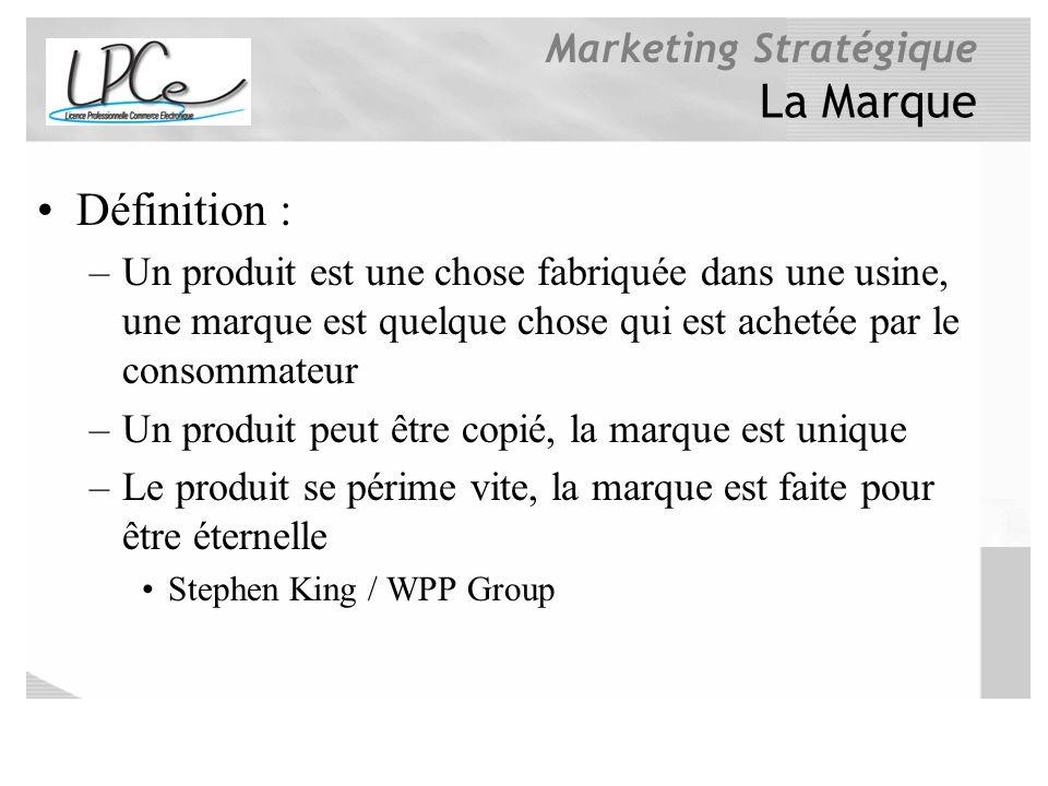 Marketing Stratégique La Marque Définition : –Un produit est une chose fabriquée dans une usine, une marque est quelque chose qui est achetée par le c