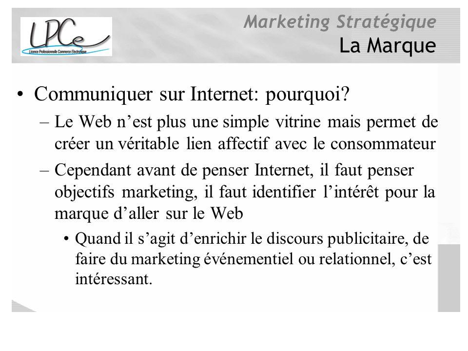 Marketing Stratégique La Marque Communiquer sur Internet: pourquoi? –Le Web nest plus une simple vitrine mais permet de créer un véritable lien affect