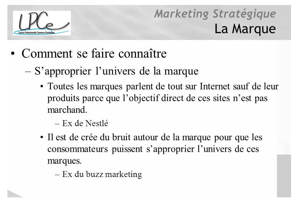 Marketing Stratégique La Marque Comment se faire connaître –Sapproprier lunivers de la marque Toutes les marques parlent de tout sur Internet sauf de
